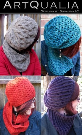Alna Hat & Cowl, Carya Hat & Cowl, Myris Hat & Cowl, and Oren Hat & Cowl by Susanna IC, photo © Susanna IC